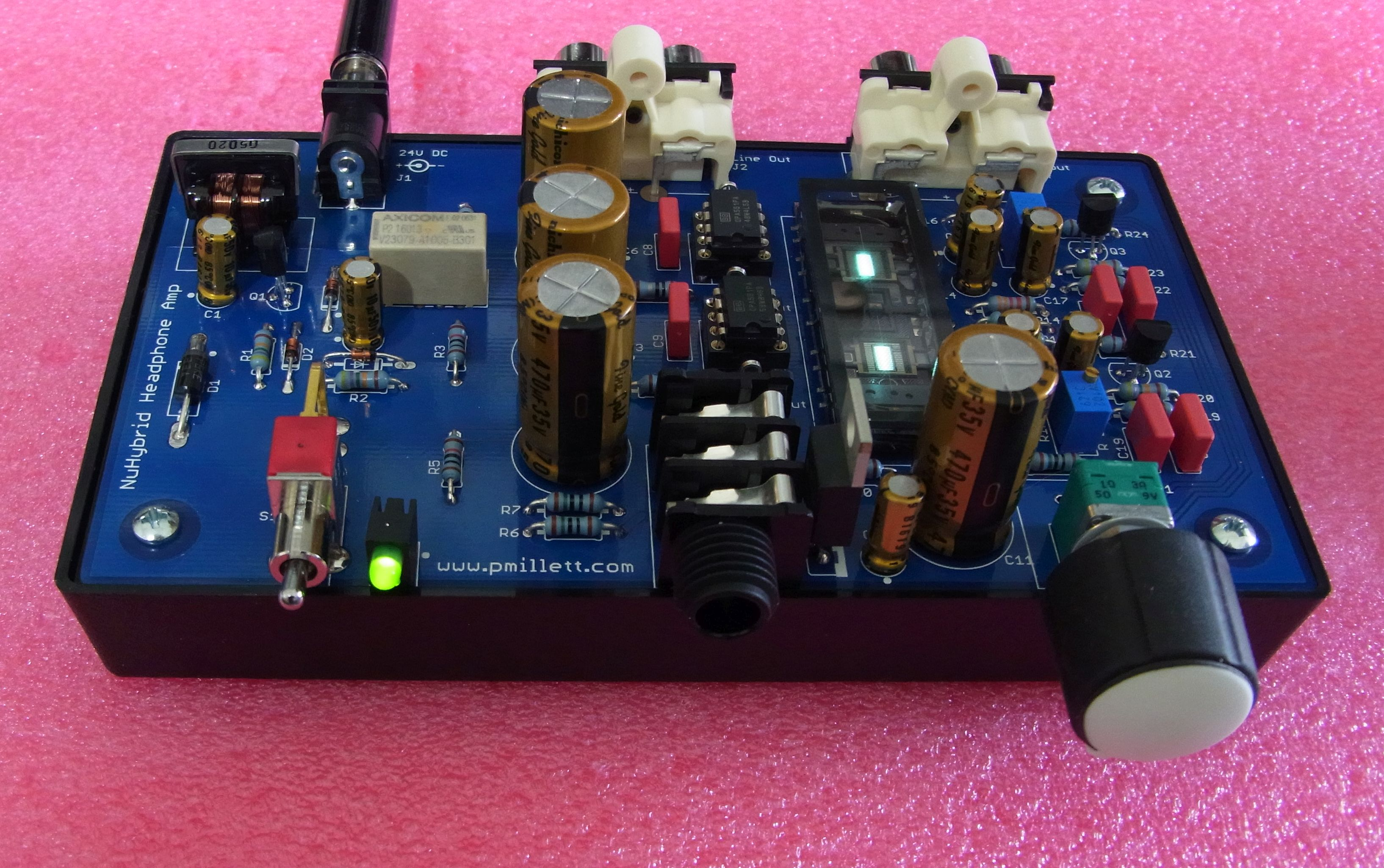 Nuhybrid Headphone Amp Guitar Coupling Capacitor Circuit Like The Original This One Can Be Built As An Open Pcb Mounted Into A Plastic Base With Parts And Glowing Nutube Exposed For All To See