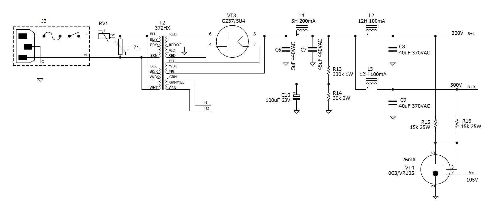 R120 Se Amp Tube Rectifier Schematic Further Power Lifier Schematics Using A Hammond 372hx Transformer B Came Out Spot On The Simulated Result Of 300v Input Pentode Screens Are Supplied By Vr Shunt Reg