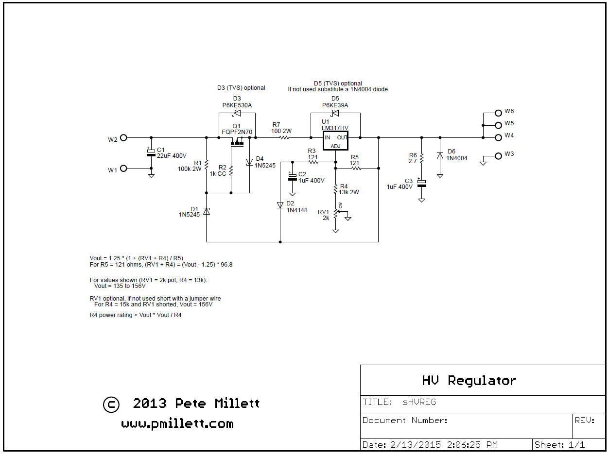High Voltage Regulator Adjustable Symmetric Power Supply Schematic Diagram