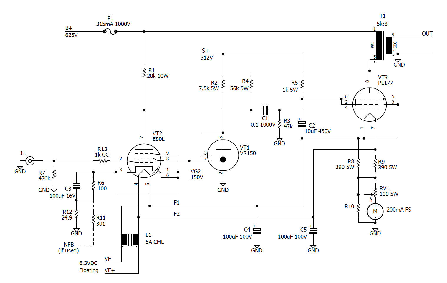 Pl177 Amplifer Am Transmitter Circuit Diagram Very Simple A High Gm Pentode E80l Cap Coupled To The Pl 177 With Cathode Bias In Class A1 This Is One Of Few Tubes That Works