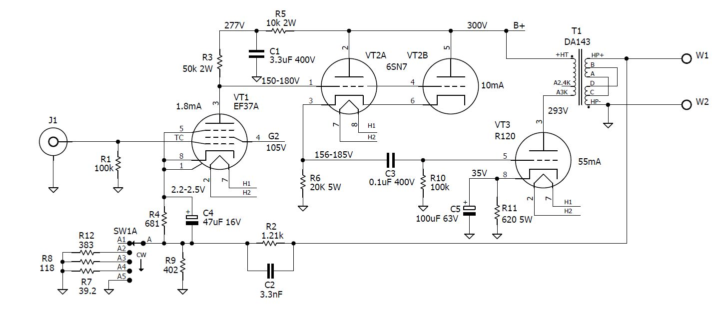 R120 Se Amp Schematic I Did Start From Scratch With Tuning Component Values And Used A Somewhat Better Power Supply Design B Uses Gz37 Or 5u4 Rectifier Common Clc Filter